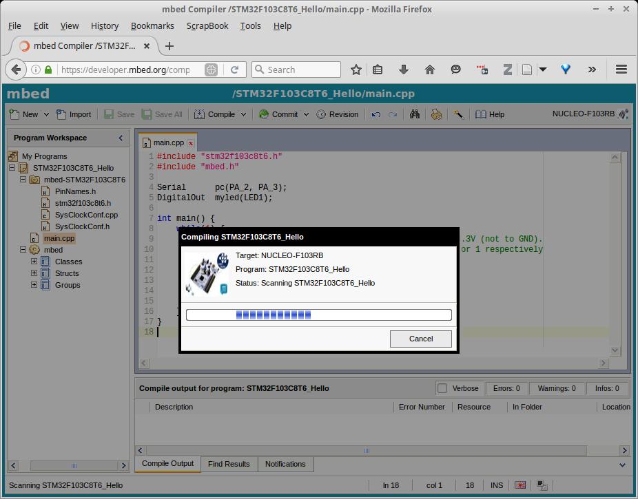 Mbed, kompilasi online program STM32F103C8T6 – Tinker