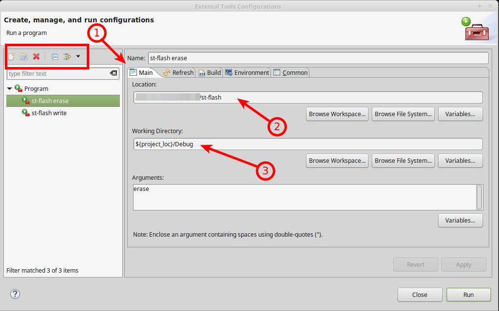 Konfigurasi external tools configurations pada SW4STM32 untuk st