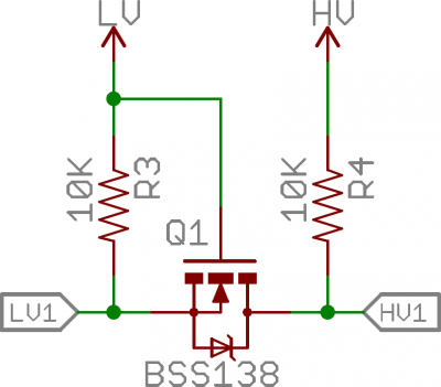 MOSFET logic level shifting circuit