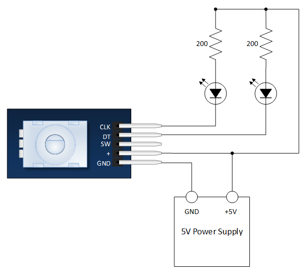 Keyes KY-040 Rotary Encoder Evaluation Schematic